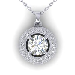 1.10 CTW Certified VS/SI Diamond Micro Halo Stud Necklace 14K White Gold - REF-180N2A - 30492
