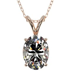 1.25 CTW Certified VS/SI Quality Oval Diamond Solitaire Necklace 10K Rose Gold - REF-423A3V - 33212