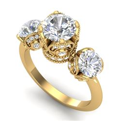 3 CTW VS/SI Diamond Solitaire Art Deco 3 Stone Ring 18K Yellow Gold - REF-649R3K - 36868