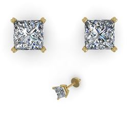 1.0 CTW Princess Cut VS/SI Diamond Stud Designer Earrings 14K Yellow Gold - REF-148V5Y - 38363
