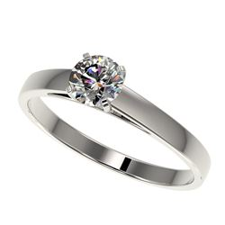 0.55 CTW Certified H-SI/I Quality Diamond Solitaire Engagement Ring 10K White Gold - REF-54K2W - 364
