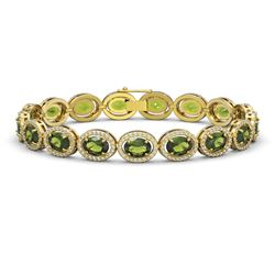 21.71 CTW Tourmaline & Diamond Bracelet Yellow Gold 10K Yellow Gold - REF-338A9V - 40624