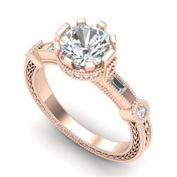 1.71 CTW VS/SI Diamond Solitaire Art Deco Ring 18K Rose Gold - REF-536A4V - 37062
