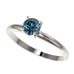 0.55 CTW Certified Intense Blue SI Diamond Solitaire Engagement Ring 10K White Gold - REF-58M2F - 36