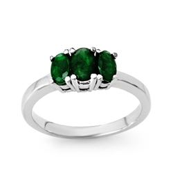 1.0 CTW Emerald Ring 18K White Gold - REF-38F4N - 13828