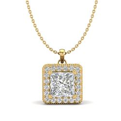 1.93 CTW Princess VS/SI Diamond Solitaire Micro Pave Necklace 18K Yellow Gold - REF-436H4M - 37174