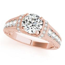 1.25 CTW Certified VS/SI Diamond Solitaire Antique Ring 18K Rose Gold - REF-224M2F - 27400