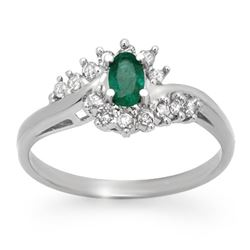 0.45 CTW Emerald & Diamond Ring 18K White Gold - REF-41N3A - 12508