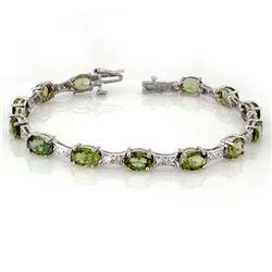 12.04 CTW Green Tourmaline & Diamond Bracelet 10K White Gold - REF-131H6M - 11503