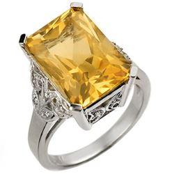 9.20 CTW Citrine & Diamond Ring 14K White Gold - REF-52F2N - 10941