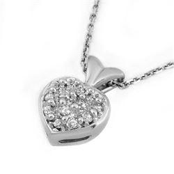 0.20 CTW Certified VS/SI Diamond Necklace 14K White Gold - REF-36F4N - 10131