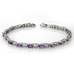 4.02 CTW Tanzanite & Diamond Bracelet 14K White Gold - REF-52N5A - 11088