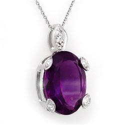 10.10 CTW Amethyst & Diamond Necklace 14K White Gold - REF-37K3W - 10561