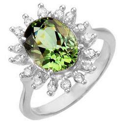 3.40 CTW Green Tourmaline & Diamond Ring 14K White Gold - REF-90V4Y - 10801