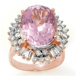 15.75 CTW Kunzite & Diamond Ring 14K Rose Gold - REF-246M4F - 10599