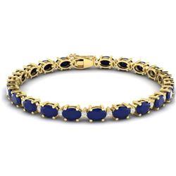 30.8 CTW Sapphire & VS/SI Certified Diamond Eternity Bracelet 10K Yellow Gold - REF-180H2M - 29462