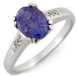 1.35 CTW Tanzanite & Diamond Ring 10K White Gold - REF-36X4R - 11216