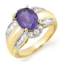 3.52 CTW Tanzanite & Diamond Ring 14K Yellow Gold - REF-114H2M - 14458