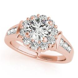 1.65 CTW Certified VS/SI Diamond Solitaire Halo Ring 18K Rose Gold - REF-250H4M - 26932