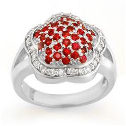 1.50 CTW Red Sapphire & Diamond Ring 14K White Gold - REF-74X9R - 10541