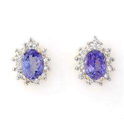 4.25 CTW Tanzanite & Diamond Earrings 14K Yellow Gold - REF-98K5W - 10257