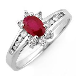 1.03 CTW Ruby & Diamond Ring 14K White Gold - REF-45N5A - 10907