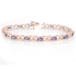 8.65 CTW Tanzanite & Diamond Bracelet 18K Rose Gold - REF-153R3K - 13907