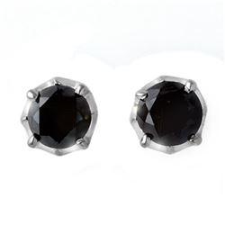 2.50 CTW VS Certified Black Diamond Solitaire Stud Earrings 14K White Gold - REF-74H7M - 11802