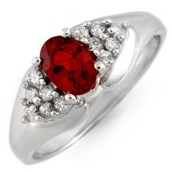 0.90 CTW Red Sapphire & Diamond Ring 18K White Gold - REF-50H5M - 10882