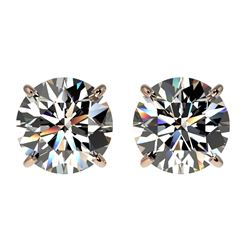 2.05 CTW Certified H-SI/I Quality Diamond Solitaire Stud Earrings 10K Rose Gold - REF-285N2A - 36635