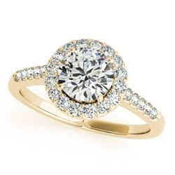 1.07 CTW Certified VS/SI Diamond Solitaire Halo Ring 18K Yellow Gold - REF-214W2H - 26340