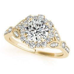 1 CTW Certified VS/SI Diamond Solitaire Halo Ring 18K Yellow Gold - REF-159N3A - 26532