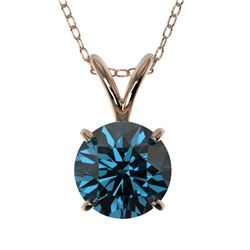 1.01 CTW Certified Intense Blue SI Diamond Solitaire Necklace 10K Rose Gold - REF-111X2R - 36766