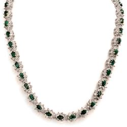 22.0 CTW Emerald & Diamond Necklace 18K White Gold - REF-902N5A - 13988