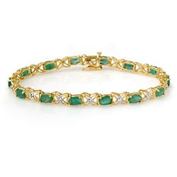 6.85 CTW Emerald & Diamond Bracelet 14K Yellow Gold - REF-72N9A - 13893
