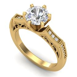 1.51 CTW VS/SI Diamond Solitaire Art Deco Ring 18K Yellow Gold - REF-536R4K - 37078