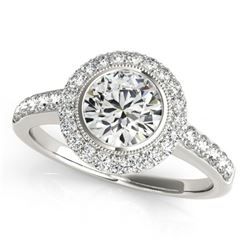 1.50 CTW Certified VS/SI Diamond Solitaire Halo Ring 18K White Gold - REF-401Y6X - 27021