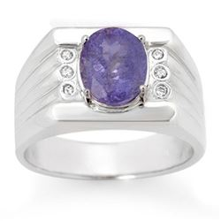 2.56 CTW Tanzanite & Diamond Men's Ring 10K White Gold - REF-90Y9X - 14468