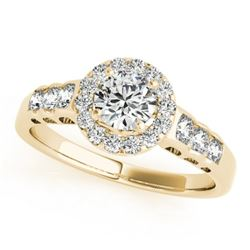 1.55 CTW Certified VS/SI Diamond Solitaire Halo Ring 18K Yellow Gold - REF-394M2F - 26981