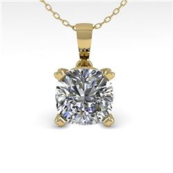 0.50 CTW VS/SI Cushion Diamond Designer Necklace 14K Yellow Gold - REF-85Y8X - 38414