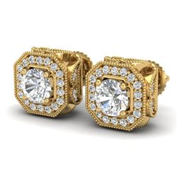 2.75 CTW VS/SI Diamond Solitaire Art Deco Stud Earrings 18K Yellow Gold - REF-472X7R - 37324
