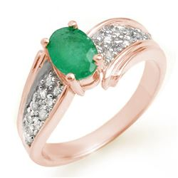1.43 CTW Emerald & Diamond Ring 14K Rose Gold - REF-65H5M - 13379