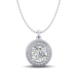 1.25 CTW VS/SI Diamond Solitaire Art Deco Stud Necklace 18K White Gold - REF-218Y2X - 37142