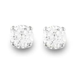 0.50 CTW Certified VS/SI Diamond Solitaire Stud Earrings 14K White Gold - REF-50A9V - 13529