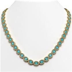 33.25 CTW Swiss Topaz & Diamond Necklace Yellow Gold 10K Yellow Gold - REF-506R4K - 40435