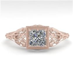 0.50 CTW VS/SI Princess Diamond Solitaire Engagement Ring Deco 18K Rose Gold - REF-113X8R - 36023