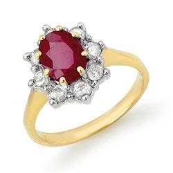 2.50 CTW Ruby & Diamond Ring 14K Yellow Gold - REF-70A9V - 13194