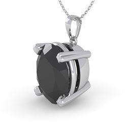 5.0 CTW Oval Black Diamond Designer Necklace 14K White Gold - REF-114W9H - 38434