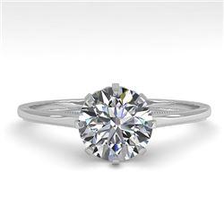 1.0 CTW Certified VS/SI Diamond Engagement Ring 18K White Gold - REF-283H4M - 35739
