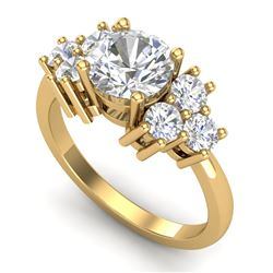 2.1 CTW VS/SI Diamond Solitaire Ring 18K Yellow Gold - REF-563W6H - 36943